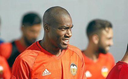 El ex del Sevilla, durante el entrenamiento.