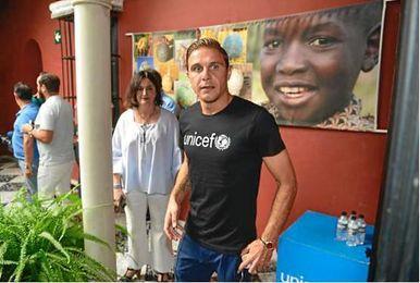 Joaquín, en un acto hoy de Unicef, con la que colabora.