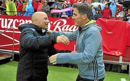 Sampaoli y Berizzo, en el Sánchez-Pizjuán la temporada pasada.