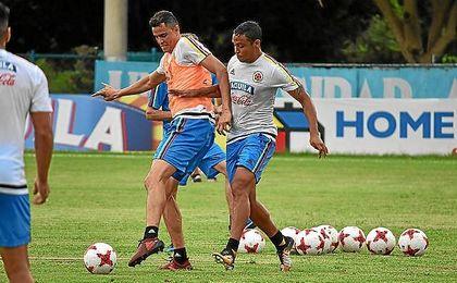 Luis Muriel, en el entrenamiento con Colombia.