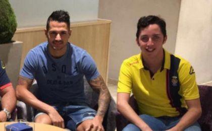 Francisco Nicolás y Vitolo celebran el fichaje del exnervionense por Las Palmas.