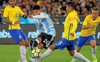 El sevillista Joaquín Correa, con la selección de Argentina.
