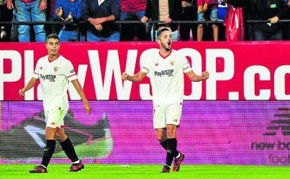 Sarabia, en la imagen celebrando su gol ante el Leganés, encadena tres titularidades consecutivas desde la de la Copa del Rey.