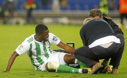 Joel Campbell, lesionado ante el Espanyol.