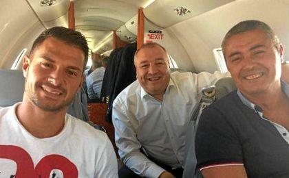 Vitolo y Ramírez, el día en que Vitolo regresaba a Las Palmas tras su fichaje.
