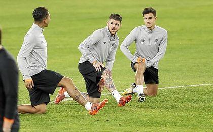 Alberto Moreno, antes Sevilla-Liverpool.