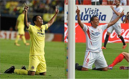 Bacca, que casi siempre dedica sus goles a Dios, ahora en el Villarreal y tres temporadas atrás en el Sevilla.
