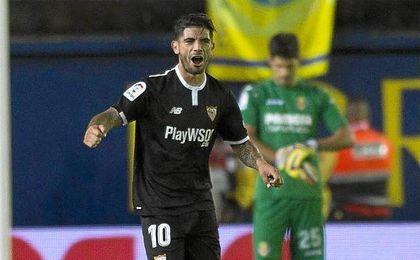 Banega celebra su gol frente al Villarreal.