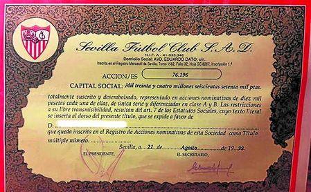 En 1998, las acciones del Sevilla valían 10.000 pesetas (60 euros).