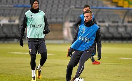Pizarro y Sarabia, en el entrenamiento en Maribor.