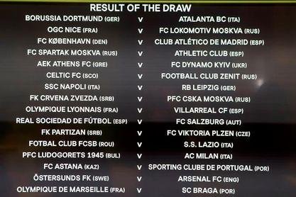 Nápoles-Leipzig, Lyon-Villarreal y Copenhague-Atlético, las perlas sorteo