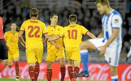 Ben Yedder, Franco Vázquez y Nasri, la temporada pasada en Anoeta.