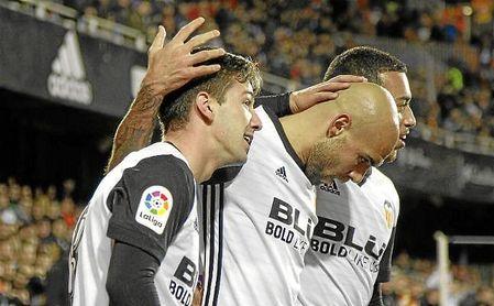 Vietto celebra uno de sus tres goles a Las Palmas.