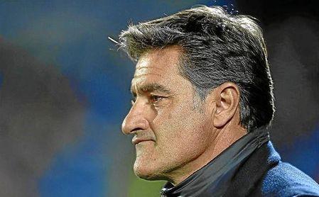 Míchel, ayer en el partido que enfrentaba al Málaga ante el Getafe.