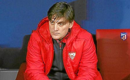 Montella, en el banquillo del Wanda Metropolitano.
