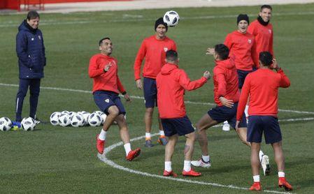 Imagen del entrenamiento de ayer del Sevilla.