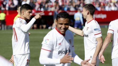 Correa celebró el tanto como propio, aunque el árbitro se lo dio a Sarabia.