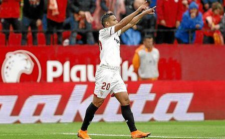 El colombiano Luis Muriel celebra su gol al Athletic Club.
