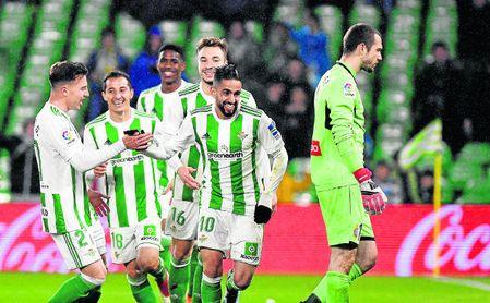 Boudebouz celebra el 2-0 frente al Espanyol.