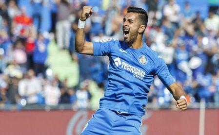 Ángel Rodríguez celebra un gol con la camiseta del Getafe.
