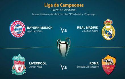 """Otro """"clásico"""" Bayern-Real Madrid y un Liverpool-Roma previos a la final de Kiev"""