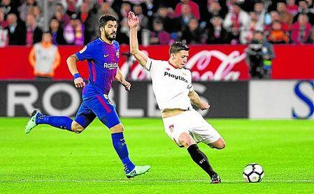 Lenglet, en el partido ante el Barcelona.