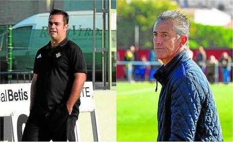 Pablo del Pino (izquierda) durante un encuentro con el Betis DH Juvenil esta temporada; a la derecha, Alejandro Ceballos con el Gerena.