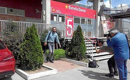 Pablo Machín, a su salida de las oficinas del estadio del Girona FC.