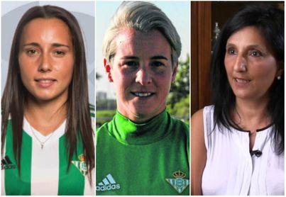 De izquierda a derecha: Ana González, jugadora del Betis Féminas; Priscila Borja, jugadora del Betis Féminas; Pilar Vargas, entrenadora nacional.