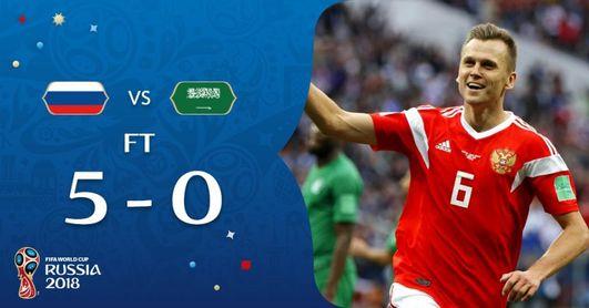 Rusia golea a Arabia Saudí en el partido inaugural