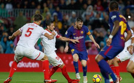 Leo Messi durante un encuentro frente al Sevilla FC.