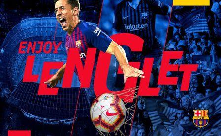 El anuncio oficial del fichaje de Lenglet por el Barcelona.