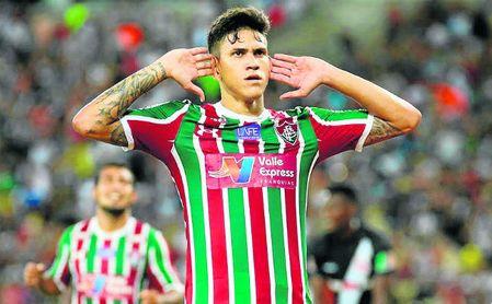 Pedro Guilherme Abreu dos Santos, de 21 años, celebra de forma reivindicativa un gol con el Fluminense.