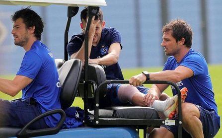 Jairo Samperio, lesionado durante un entrenamiento con el Hamburgo.