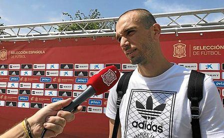 Pau López, a su llegada a la Ciudad del Fútbol de Las Rozas.