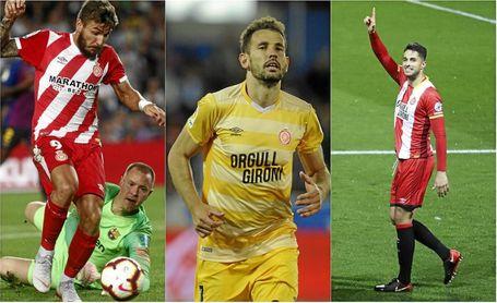 Portu, Stuani y Juanpe, tres jugadores tanteados por el Sevilla el pasado verano.