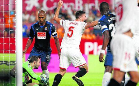 El francés Lenglet adelantó al Sevilla el pasado curso, pero el Espanyol arañó un empate después de cinco derrotas seguidas en Nervión.
