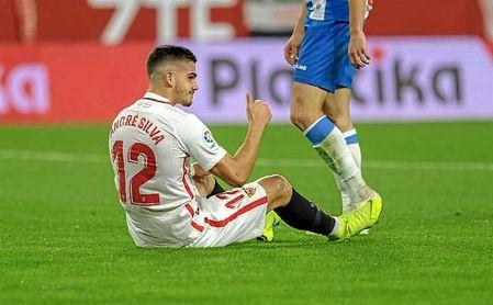 André Silva, durante el último partido del Sevilla en Liga ante el Espanyol.