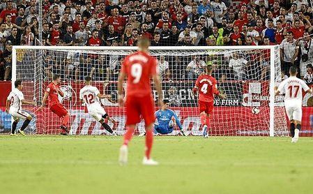 Imagen del partido disputado entre Sevilla FC y Real Madrid en Nervión.