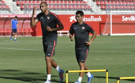 Nzonzi y Ben Yedder en un entrenamiento del Sevilla.