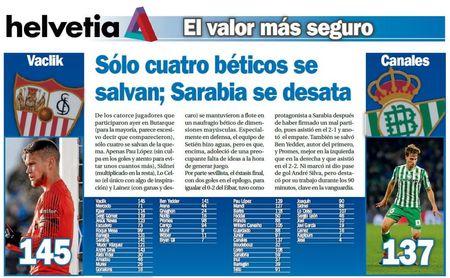 Sólo cuatro béticos se salvan; Sarabia se desata