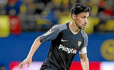 Jesús Navas, en un lance del partido ante el Villarreal.