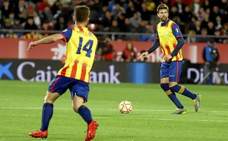 Piqué, en el partido amistoso entre la selección de Cataluña y Venezuela.