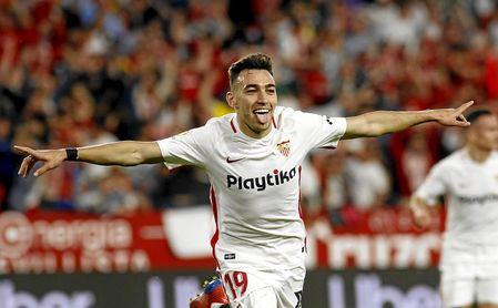 Munir, celebrando un gol.