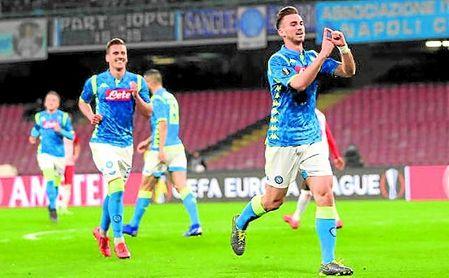 Fabián celebra un gol con el Nápoles esta temporada.