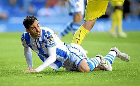 Juanmi, en un partido con la Real Sociedad.