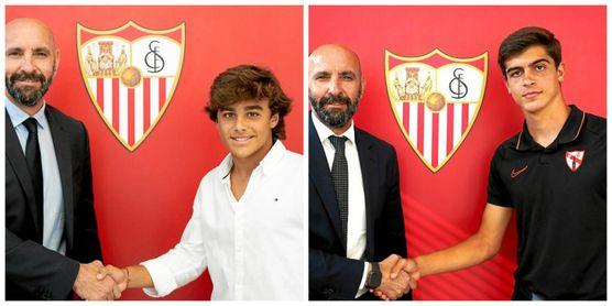 Carlos Álvarez y Juanlu, durante la firma de su contrato profesional.
