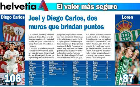 Joel y Diego Carlos, dos muros que brindan puntos