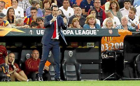 Emery, con el Arsenal FC en Mestalla.