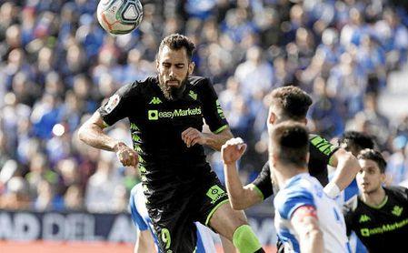 Borja Iglesias fue expulsado ante el Leganés.